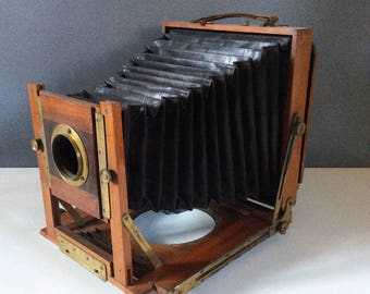 Victorian Field Camera. Mahogany Box Camera with Bellows, Antique Camera, Brass Fittings