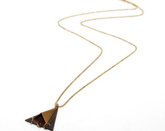 Trinagle Wood necklace ,wooden  necklace, Trinagle necklace, Raw brass necklace, Trinagle pendant, Everyday jewelry
