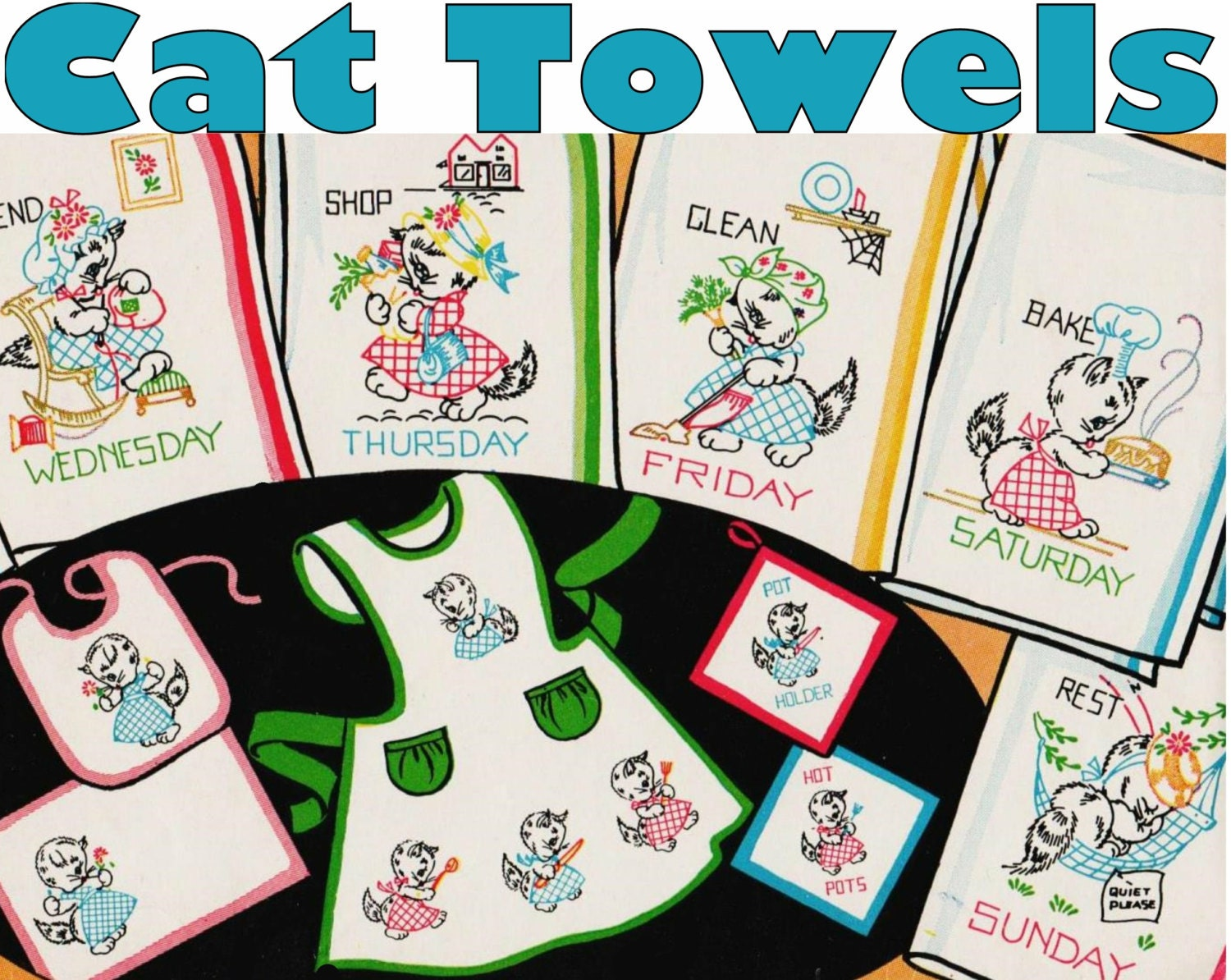 Cat tea towels day of the week towel embroidery pattern pdf zoom bankloansurffo Images