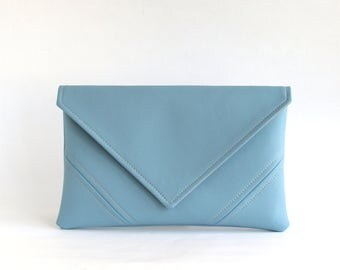 Sky Blue Clutch Handbag Vegan Leather Clutch Bag Bridesmaid Clutch Purse Gift For Her Evening Clutch Vegan Bag Leather Bag Gift For Mom