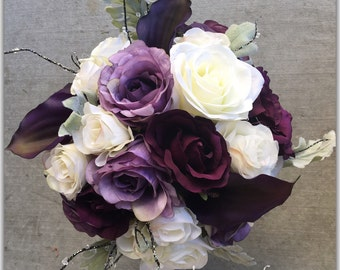Purple bouquet, fall style. Wedding bouquet.