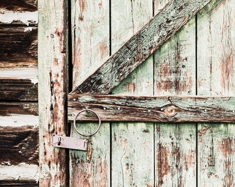 Green Door Photo, Weathered Door Print, Entryway Art, Foyer Decor, Country Home Decor, Rustic Foyer Art, Wooden Door Photo, Old Door Picture