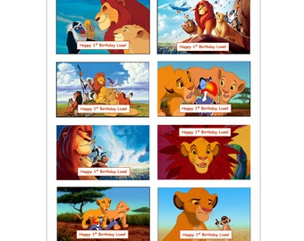 8 PERSONALIZED The Lion King Stickers, Birthday party favors, labels, rewards, decals, scrapbooking, custom Made