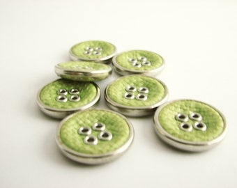 """Green fabric buttons, 7 medium large buttons in fresh green colour, 21 mm - 13/16"""""""