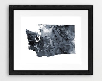 Washington State Print, Washington Map Wall Art, US Washington Watercolor Grey Black White, Modern Wall Art, Home Office Decor Printable Art