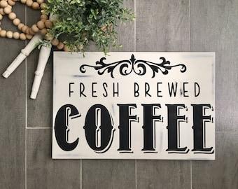 Coffee Sign - Coffee Bar Sign - Coffee Decor - Coffee Art - Kitchen Decor - Coffee Lover - Wood Sign - Distressed - Farmhouse Decor