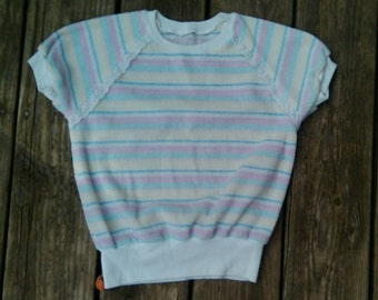 Vintage Terry Cropped Top T Shirt Pastel Stripes Lace Detail 70s