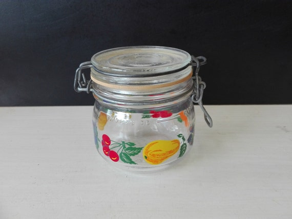 Glas vegetable pattern Weck jars, 1 liter
