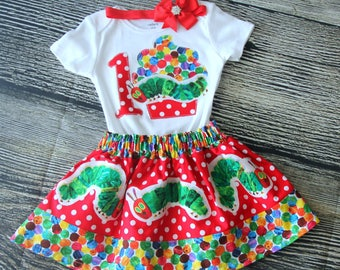 The Hungry Caterpillar 3 Piece Birthday Outfit Set- Girl's 1st, 2nd and 3rd Birthday-