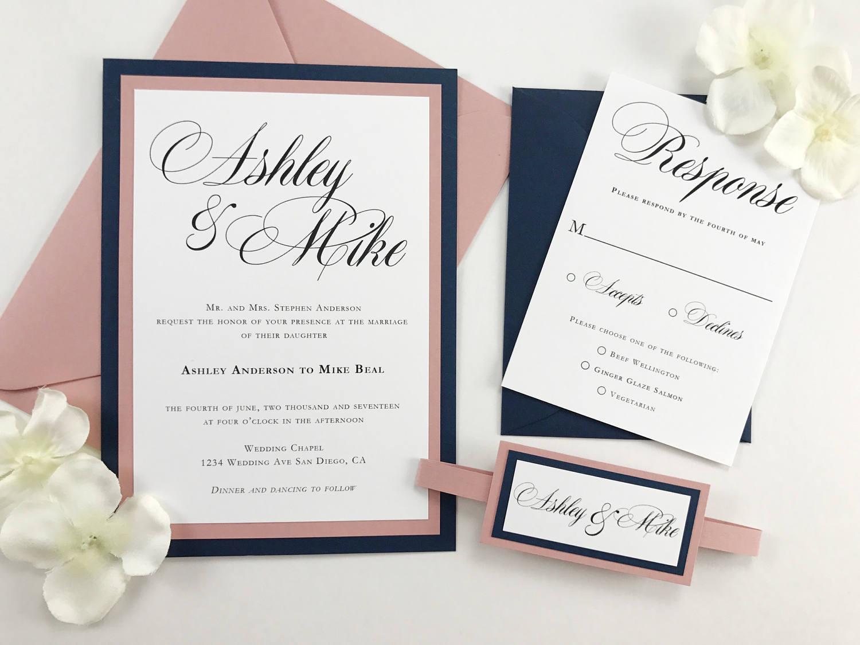 Wedding Invitations Rose: Beautiful Navy And Dusty Rose Pink Wedding Invitation Dark