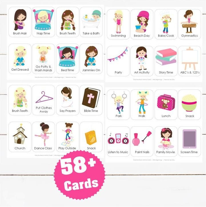daily routine  u0026 activity cards for girls
