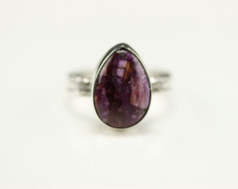 Native American Indian Jewelry Sterling Silver Purple Spiny Oyster Ring Size 7.5