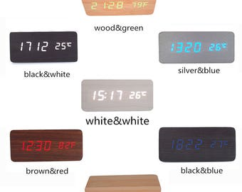Latest Design Fashion USB/AAA LED Light Wooden Digital Alarm Clock -Time Temperature Date Display - Voice and Touch Activated