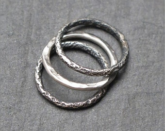 Three sterling silver stackable ring 950