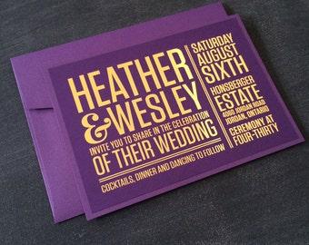 Modern Wedding Invitation - Heather Wedding Suite - Modern, simplistic, typographic, wedding invite, printable