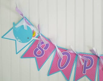 Narwhal Banner, narwhal Birthday Banner, narwhal unicorn Birthday, unicorn  Birthday banner, narwhal name banner, narwhal Party supplies