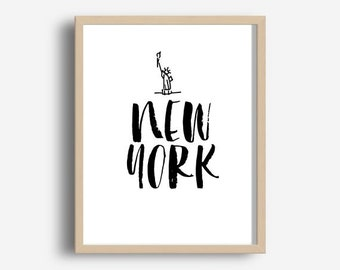 New York, Printable Wall Art, New York City, Typographic Art,  Wall decor,  Home wall Art, digital Download