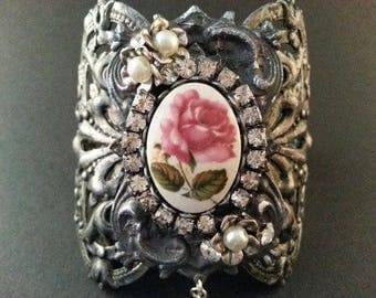 Victorian Rose Cuff | Flower Jewelry | Rose Cuff | Bridal Cuff | Gift for her