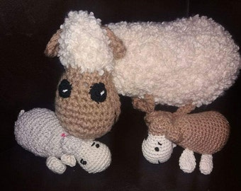 Large sheep with crochet amigurumi, toy, baby toddler, deco ...plush