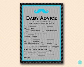 Turquoise Mustache Baby Shower Games, Baby Shower Mad Libs, Mad Lib Baby Shower, Baby Shower Game, Shower Games Printable, Activities, TLC65