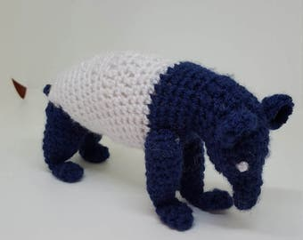 Andre the Tapir.  Pattern for an amigurami Tapir, black and white and cute all over!