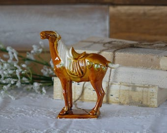 Vintage Tang Dynasty horse figurine - Glazed ceramic - Tang horse statue - Chinese imperial war horse pottery sculpture