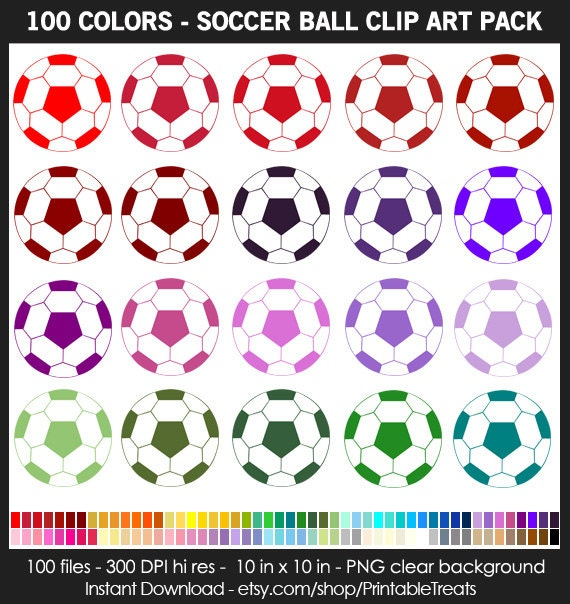 99 Colors Soccer Ball Clipart Pack Commercial Use