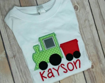 Embroidered train shirt, Valentine's day train shirt, Christmas train shirt, custom train shirt, toddler train shirt