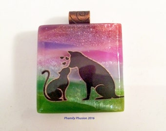 Fused Glass Dichroic Scenic Pendant -Furry Friends in Love -Vibrant, Fabulous & Dramatic Colors of Nature/ Dichroic Jewelry/Stocking Stuffer