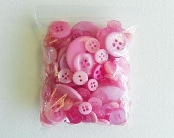 Bags of Crafting Buttons in Shades of Pink suitable for many crafts including card making, scrap booking and sewing