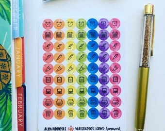 Watercolor Icon Planner Stickers, Homework