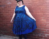 Tentacles Circle Dress in blue or charcoal available on pre-order! Size 6 - 38