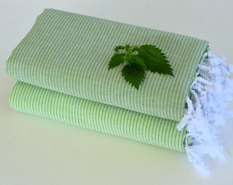 Thin and Thinner Stripped 2 TURKISH TOWEL set-PESHTEMAL  Hammam Towel Beach Towel Thin and Light  Fouta  Guest Towel Gift Idea Green - Khaki