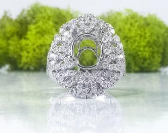Beautiful 18K White Gold 10x8mm Oval Semi Mount Diamond Ring Setting Mounting F VS2