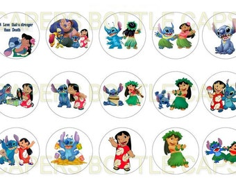 Lilo and Stitch Bottle Cap Images, Cupcake Toppers, Party Favors, Party Supplies, Gift Giving Bottle Cap Circles