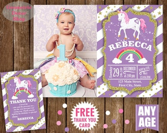 Unicorn Birthday Invitation Purple Invitations Girl Invite Pink Invites Magical Day Rainbow Birthday Thank you card Photo Photograph BDU6