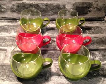 Vintage set of 6 glass / plastic cups 1970's