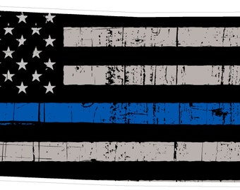 Kansas State (V17) Thin Blue Line Vinyl Decal Sticker Car/Truck Laptop/Netbook Window