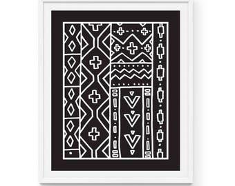 "African Mud Cloth Art Print | Diamonds | 8"" x 10"" | Black and White, Tribal, Boho, Pattern, Ethnic, Aztec, Hand drawn, Stripes, Triangles"