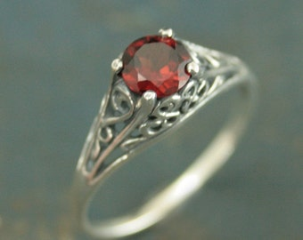 The Cinderella Ring with Garnet--Vintage Style Ring--Red Stone Ring--Garnet Ring--Genuine Mozambique Garnet--Antique Style Ring