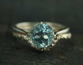 Vintage Style Ring--Antique Style Engagement Ring--Blue Topaz Ring--Aquamarine Ring--Unique Engagement Ring--Something Blue Ring