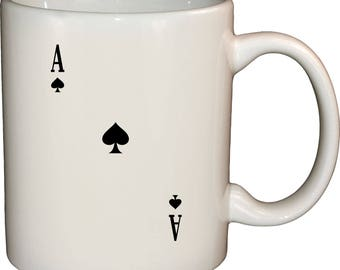 Ace Of Spades Black Design - 12 Oz Ceramic White Coffee Mug