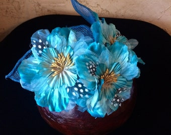 Handmade, Teal Fascinator, Mini Hat, Kentucky Derby, or Church hat