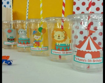 12 Personalized Circus/Carnival  Themed Party Cups with Lids and Striped Straws, County Fair Party Cups