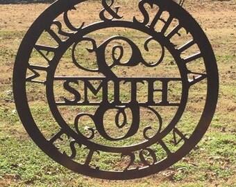 Monogram metal sign