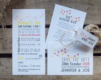 Rustic Vintage Wedding Invitations Yellow Hearts Set