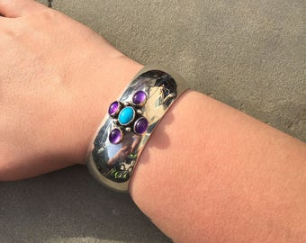Amethyst and Turquoise Silver Cuff