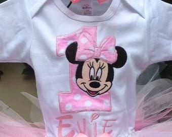 Pink Minnie Mouse 1st Birthday Onesie Pink Minnie Mouse 1st Birthday Shirt Minnie Mouse Girls Birthday Shirt Personalized Onesie