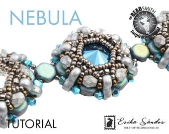 NEBULA bracelet - instant download for the pdf instructions. Bracelet with honeycomb, Trinity two hole beads