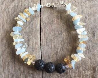Aquamarine & Citrine Essential Oil Bracelet